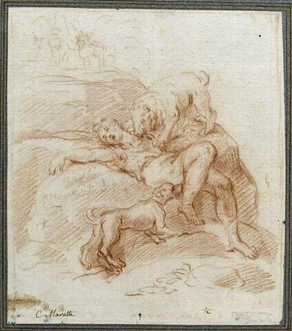 Homme à terre dévoré par un ours et un chien