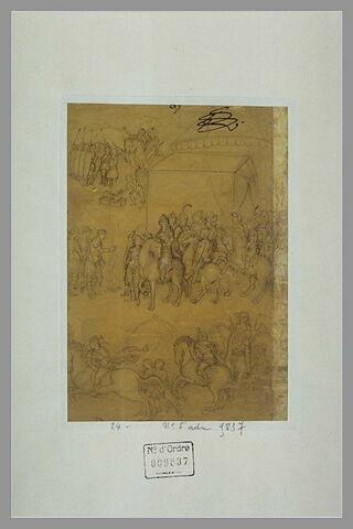 Groupes de guerriers à pied et à cheval, dans un camp militaire