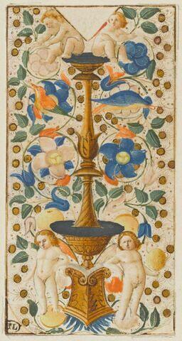 Deux putti assis sur un candélabre flanqué de deux putti debout