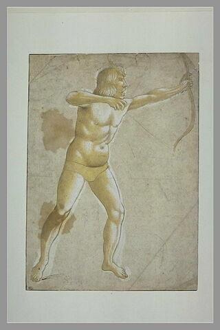 Un homme debout, de profil vers la droite, tirant à l'arc