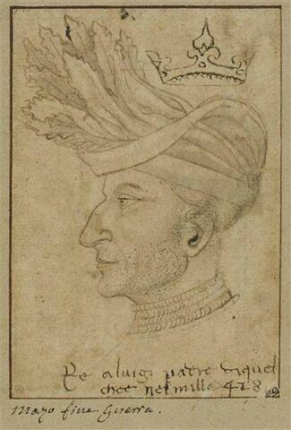 Portrait de Louis II, roi de Naples, de profil, coiffé, et couronné