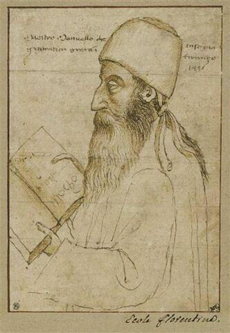 Portrait de Manuel Chrysoloras, coiffé d'un bonnet et tenant un livre