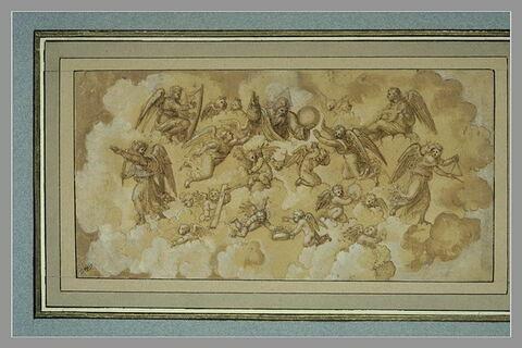 Dieu le Père tenant le monde, entouré d'anges musiciens