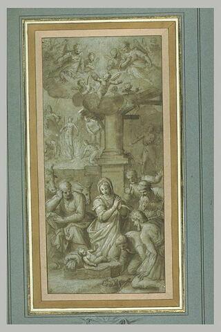 L'Adoration des bergers. Martyre d'un saint