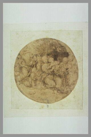 Sainte Famille, avec le petit saint-Jean, adorée par les anges