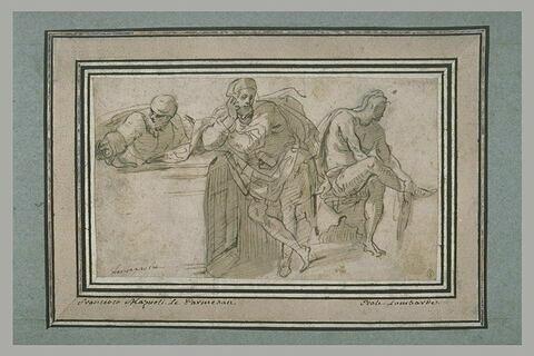 Trois hommes, dans diverses attitudes