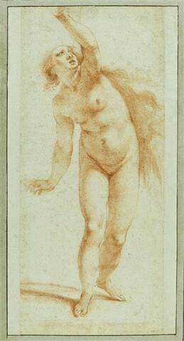 Femme nue debout, bras gauche levé