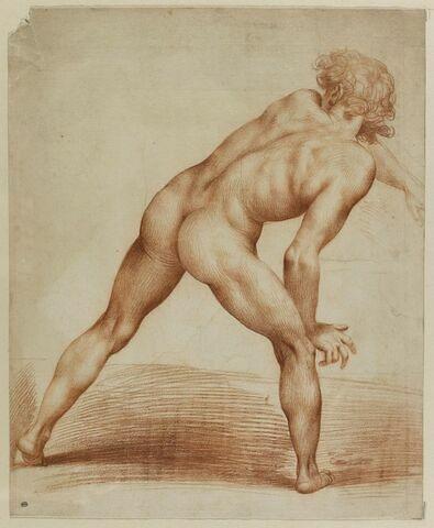 Etude académique d'homme nu, debout, de dos, se penchant