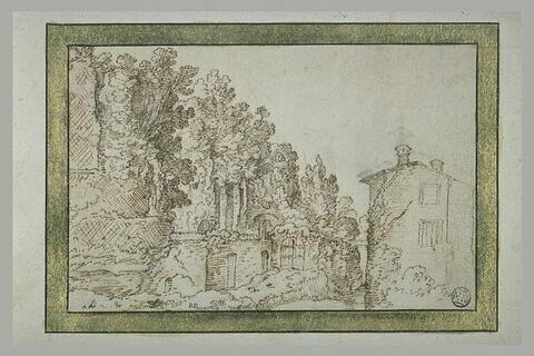 Paysage avec muraille percée d'une porte et une maison au premier plan, à droite