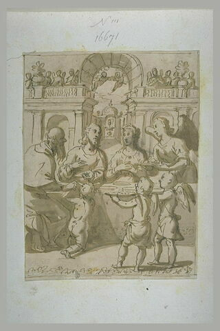Le Christ assis, servi par les anges