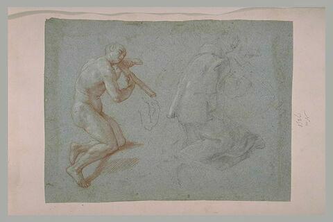 Deux études d'un homme agenouillé, la tête contre un crucifix
