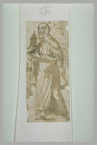 Sainte debout, se dirigeant vers la gauche, tenant un reliquaire