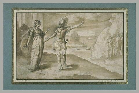 Un guerrier s'entretenant avec une jeune femme couronnée