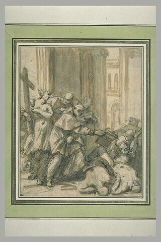 Des hommes d'église tendent un livre à une femme près de cadavres
