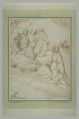 La Vierge reçue au ciel par le Christ et Dieu le Père
