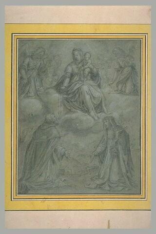 La Vierge à l'Enfant donnant le rosaire à saint Dominique devant une sainte