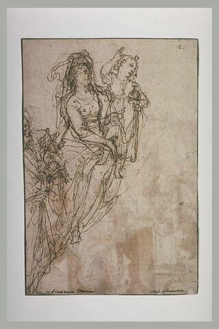 Vierge tenant l'Enfant debout, en Salvator Mundi, et saint Joseph