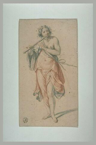 Femme debout de face, drapée, jouant de la flûte