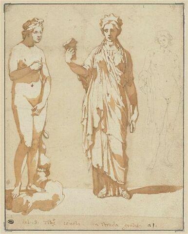 Groupe de trois sculptures antiques, dont Vénus et Apollon