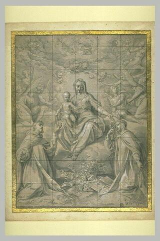 Vierge à l'Enfant donnant le rosaire à sainte Catherine et saint Dominique
