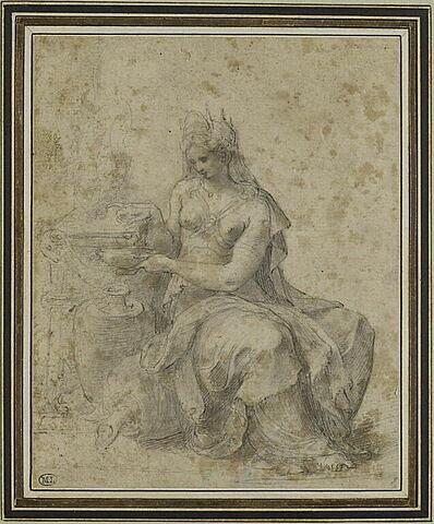 Femme assise, couronnée, préparant une libation : la reine Artémise mélangeant les os et les cendres de son époux, Mausole, à des parfums réduisant le tout en poudre, le mêlant à de l'eau afin de pouvoir le boire