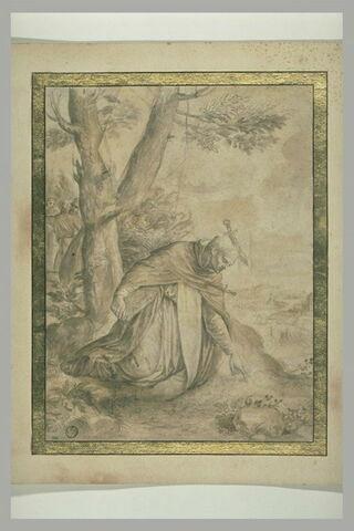 Saint Pierre martyr à genoux, le crâne fendu par un coutelas