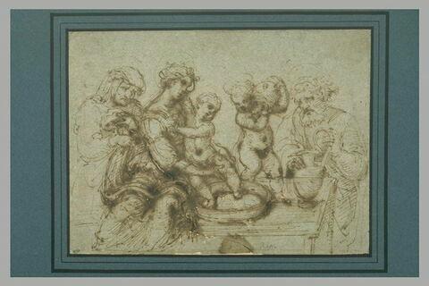 Sainte Famille avec le petit saint Jean et sainte Elisabeth ou sainte Anne
