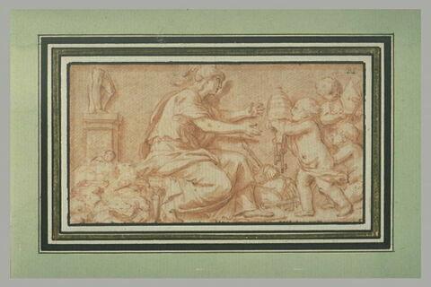 Rome guerrière recevant la tiare des mains d'un génie