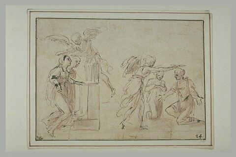 Deux études pour sainte Cécile et saint Valérien couronnés par l'ange