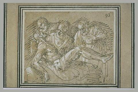 Trois apôtres autour du corps du Christ