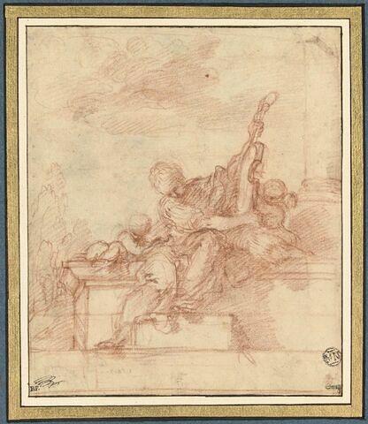 Des putti avec une figure de femme assise tenant un instrument de musique