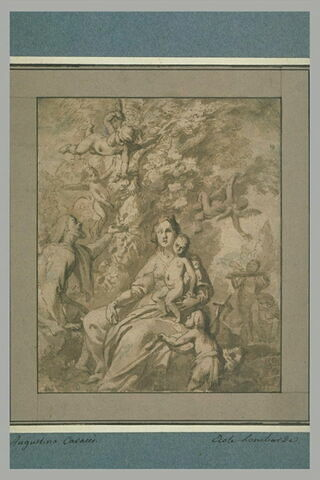 La Sainte Famille avec le petit saint Jean servie par les anges
