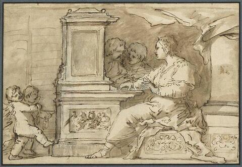 Sainte Cécile à l'orgue entourée d'anges