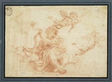 Un jeune homme assis et deux amours planant à droite