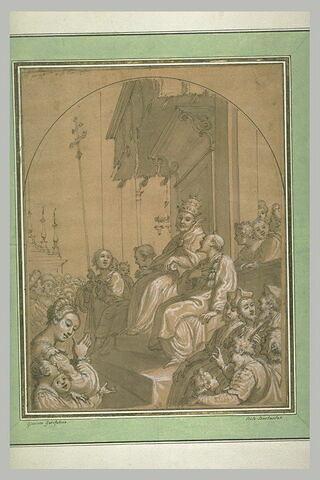 Pape sur un trône entouré de diacres et de fidèles