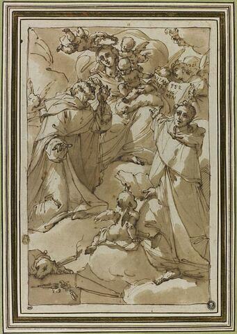 La Vierge à l'Enfant, couronnée, donnant le rosaire à saint Dominique
