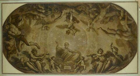 Dieu en gloire et les anges rebelles foudroyés