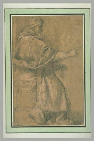 Pape assis, tourné vers la droite, avançant une main