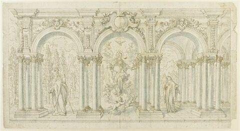 L'Immaculée Conception entourée de saint Benoît et de sainte Scolastique