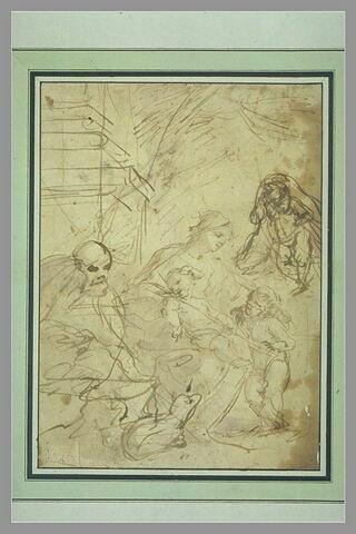 La Sainte Famille avec saint Jean et une cinquième figure à droite