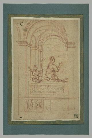 Etude d'un tombeau avec sainte Barbe en prière