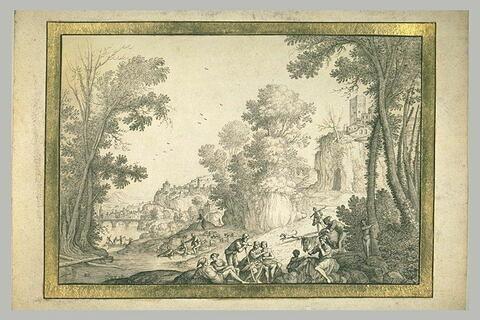 Figures écoutant un musicien dans un paysage boisé, avec une ville au loin