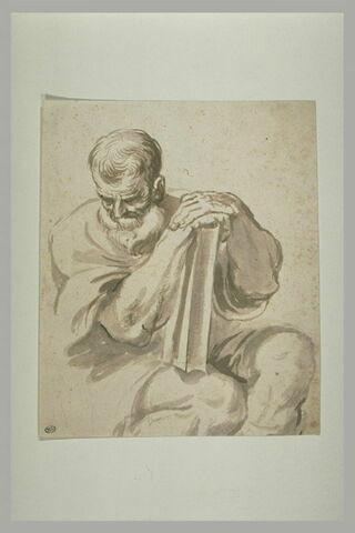 Vieillard assis avec un livre : évangéliste ?