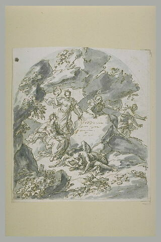 Sainte Rosalie gravant son nom dans la grotte et quatre figures allégoriques