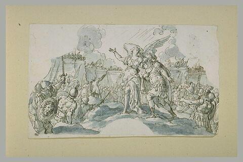 Un ange montrant la ville de Jérusalem à Godefroy de Bouillon