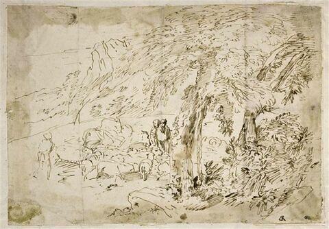 Paysage avec un berger conduisant un troupeau et deux figures