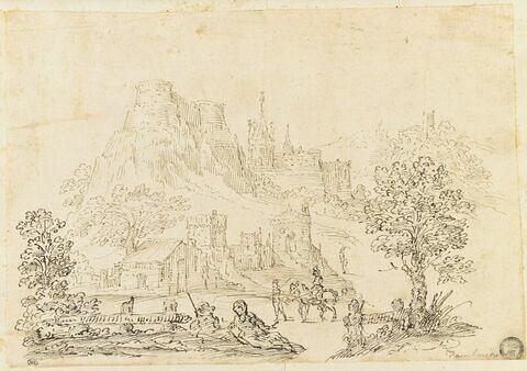 Figures près d'un village, dominé par une forteresse