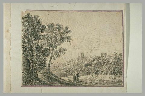 Paysage avec Tobie et l'Ange et un chien sur un chemin bordé d'arbres