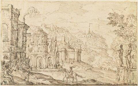 De nombreux châteaux dans un paysage montagneux