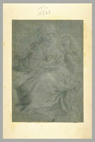 Femme assise versant de l'eau dans une coupe : allégorie de la Tempérence?